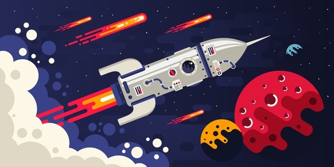 Rocket flying in space to other planets. Spaceship surrounded by comets and celestial bodies. Vector flat illustration.