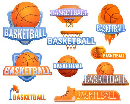 Basketball sport logo set. Cartoon set of basketball sport vector logo for web design