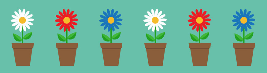 Daisy chamomile in pot line. Cute flower plant collection. Love card. White red blue camomile icon set Growing concept. Flat design. Green background. Isolated.