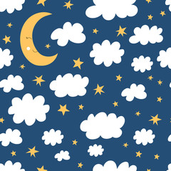 Good night seamless pattern. Half moon, clouds and star background. Vector illustration for baby design.