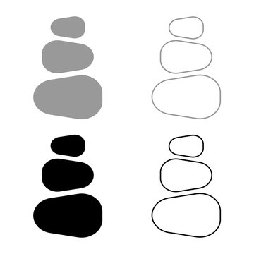 Stacked stones Stack stones Zen stone tower Spa stones stack icon set black color vector illustration flat style image