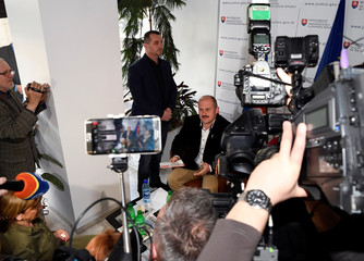 A leader of People's Party Our Slovakia (LSNS) Marian Kotleba speaks to the media after arriving at Slovakia's supreme court in Bratislava