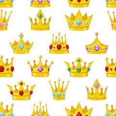 Seamless vector pattern with golden cartoon crowns