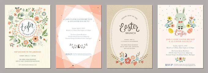 Happy Easter templates with eggs, flowers, floral wreath and branches, rabbit and typographic design.
