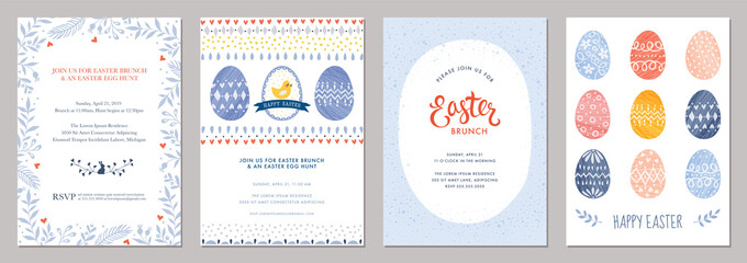 Wall Mural - Happy Easter templates with decorative eggs.