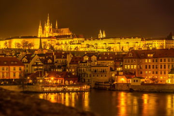 beautiful night view of old town and Prague castle with river Vltava, Czech Republic