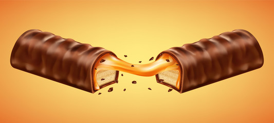 Cracked chocolate bar with caramel. Realistic vector illustration