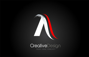 White and Red A Letter Design Brush Paint Stroke on Black Bakground