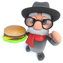 Funny cartoon 3d old man character eating a cheeseburger