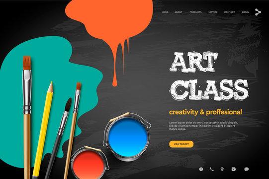 Web page design template for Art Class, studio, course, class, education. Modern design vector illustration concept for website and mobile website development.
