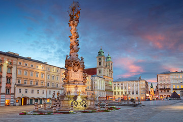 Linz, Austria. Cityscape image of main square of Linz, Austria during sunset. Wall mural