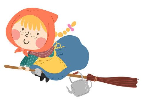 Kid Girl Sweden Easter Witch Broomstick