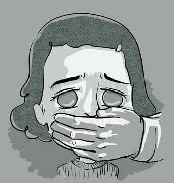 Kid Girl Cover Mouth Illustration