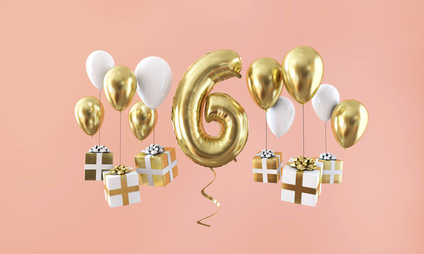Number 6 birthday celebration gold balloon with presents. 3D Render