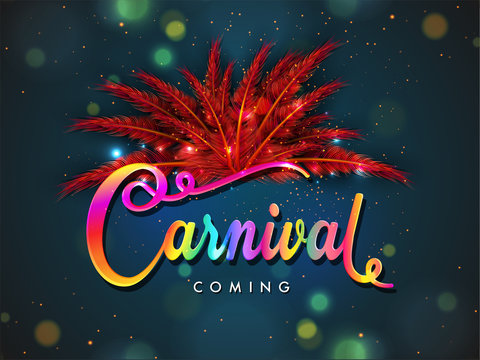 Red feather decorated colorful text Carnival on blue bokeh background for party celebration poster or banner design.