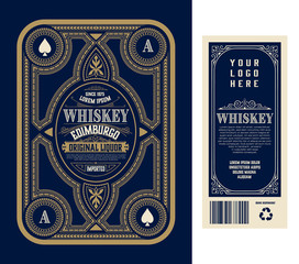 Vintage liquor labels, front and back side. Western style