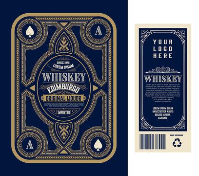 Vintage liquor labels, front and back side. Western style