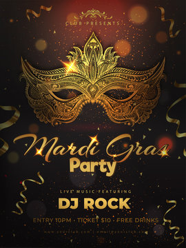 Shiny golden party mask in doodle style on brown bokeh background for Mardi Gras party template design.