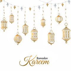 Creative hanging lanterns decorated on white background for Ramadan Kareem celebration. Can be used as greeting card or poster design.