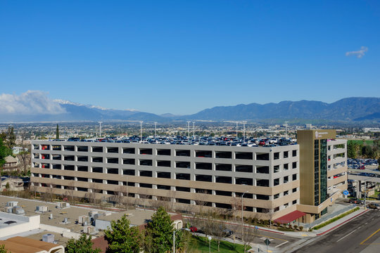 Aerial view of a parking structure of Loma Linda University