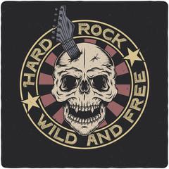 Skull with guitar. Vintage label, illustration, logotype. Vector illustration. T-shirt or poster design.