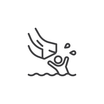 Splashing into swimming pool line icon. linear style sign for mobile concept and web design. Man on water slides in aqua park outline vector icon. Symbol, logo illustration. Pixel perfect vector