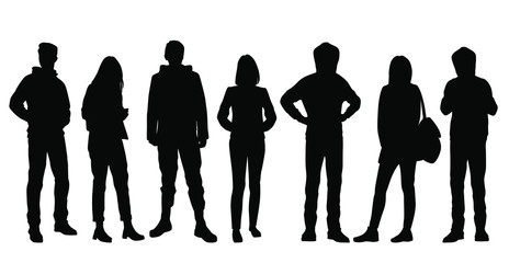 Set of vector silhouettes of  men and a women, a group of standing business people, black color isolated on white background Wall mural