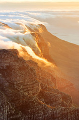 Beautiful sunset at Table Mountain, South Africa