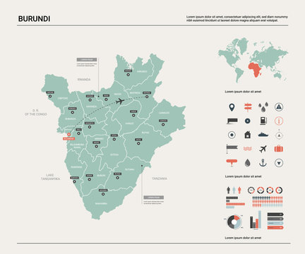Vector map of Burundi.  High detailed country map with division, cities and capital Bujumbura. Political map,  world map, infographic elements.