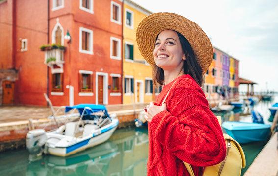 Smiling beautiful girl in Italy