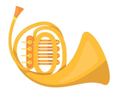 Metallic pipe, music tube. Wind classic metallic musical instrument.