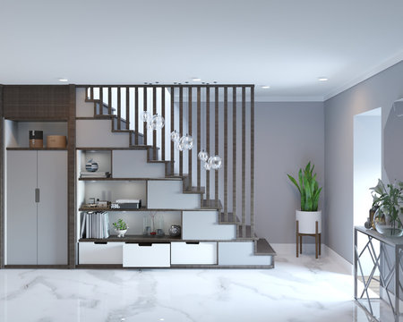 3d rendering of loft hall interior with stairs