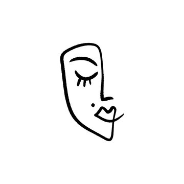 Line face drawing. Portrait in minimalistic style. Vector