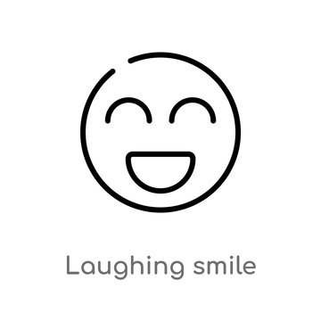 outline laughing smile vector icon. isolated black simple line element illustration from user concept. editable vector stroke laughing smile icon on white background
