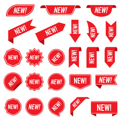 Set of new red labels isolated on white background