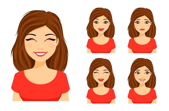 Set of emotions. Young cute girl shows different emotions. Sad, surprised, happy, laughing.