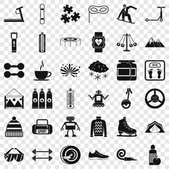 Children activity icons set. Simple style of 36 children activity vector icons for web for any design