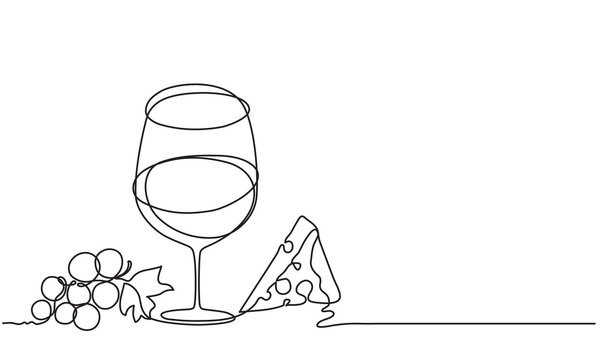 Wine glass, cheese, fruit, grape. Vector. Drawing by continuous line. Doodle. Sketch..