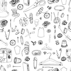 Monochrome seamless pattern with  items for sewing. Hand drawn graphic sketch of different elements isolated on white background.