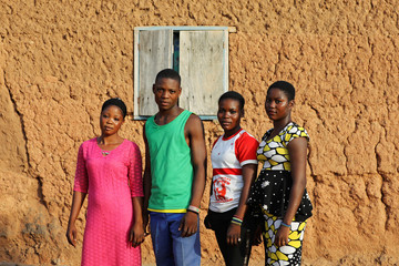 Two sets of non-identical twins Taiwo, Kehinde, Abigail and Deborah Daniel pose for a photograph in Igbo Ora