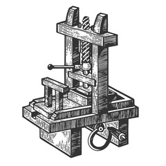 Vintage first printing press sketch engraving vector illustration. Scratch board style imitation. Hand drawn image.