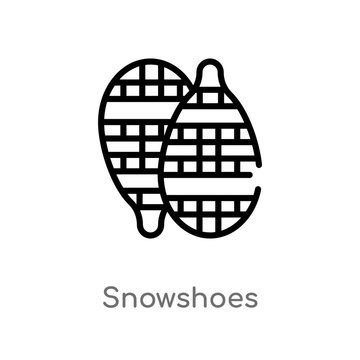 outline snowshoes vector icon. isolated black simple line element illustration from winter concept. editable vector stroke snowshoes icon on white background
