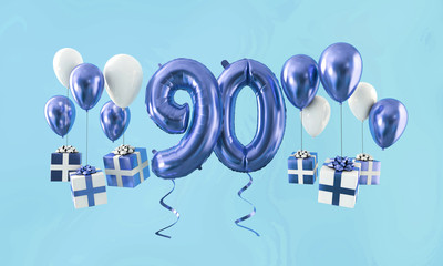 Number 90 birthday celebration gold balloon with presents. 3D Render