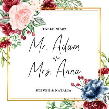 watercolor floral frame illustration, escort wedding card