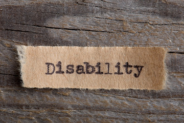 Disability typed word, motivation concept