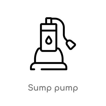 outline sump pump vector icon. isolated black simple line element illustration from furniture and household concept. editable vector stroke sump pump icon on white background