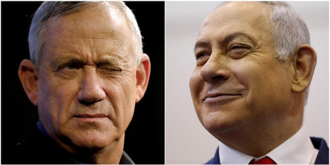 A combination picture shows Benny Gantz (left), leader of Blue and White party, at an election campaign event in Ashkelon, Israel, April 3, 2019, and Israeli Prime Minister Benjamin Netanyahu smiling at a polling station in Jerusalem