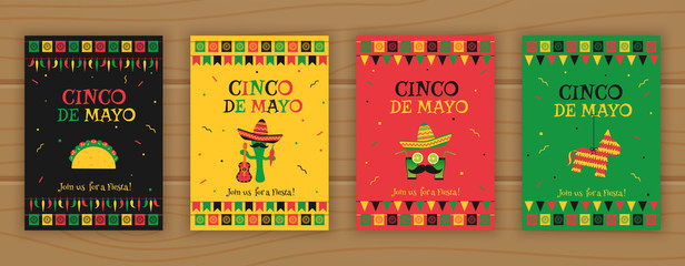 Set of cinco de mayo party poster template. Festive vector illustration with native pinata, taco and mariachi, cocktail face and garland flags for traditional Mexican celebration on cinco de mayo. Wall mural