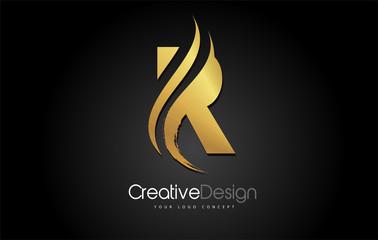 Gold Metal R Letter Design Brush Paint Stroke on Black Background