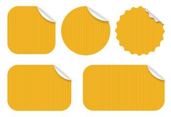 Fototapeta Etiquettes kraft / 5 formes - Vecteur